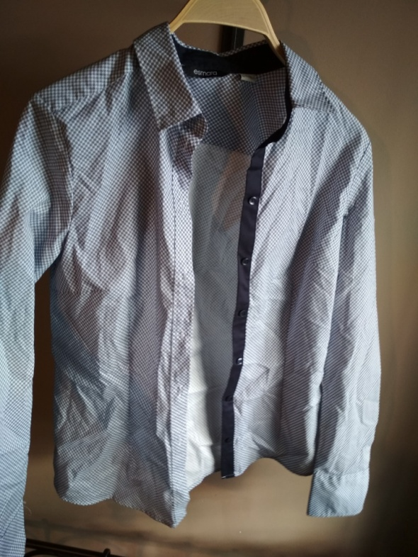 Elegancka koszula 38 w kropki Biało granatowe emsara JAK NOWA...