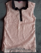 BIGGY różowa koronkowa bluzka bez rękawów r L...