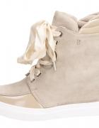 Sneakersy botki bez zamsz kokarda 36