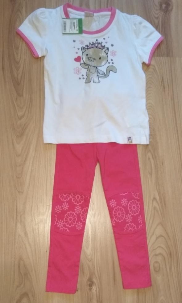 Nowy komplet biała bluzka z kotkiem i leginsy z kwiatkami 98