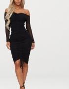 Sukienka czarna nowa z marszczeniami odkryte ramiona rozmiar M...