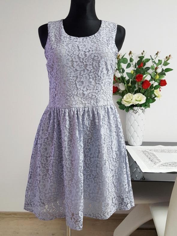 Suknie i sukienki koronkowa niebieska sukienka Amisu