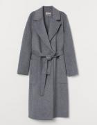 Nowy szary wiązany płaszcz wełna kaszmir H&M premium...