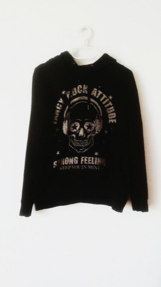 Bluzy Czarna bluza Fishbone New Yorker z czaszką emo rock gothic punk z kapturem hoodie czaszka krata kaptur