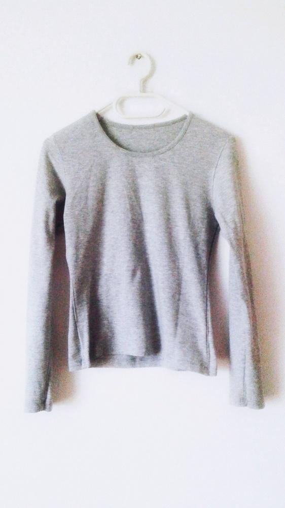 Bluzki Szara bluzka z długim rękawem longsleeve basic rękawy obcisła bluzka popielata jasnoszara