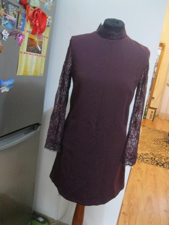 sukienka prosta TOP SHOP 38 koronkowy rękaw bordo