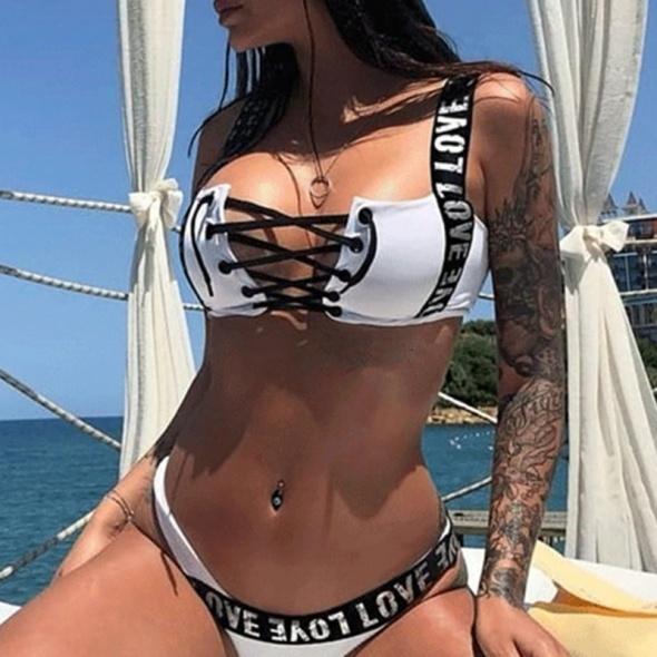 Bikini białe napisy guma sznurowane siwiec...