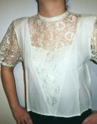 Bluzka vintage z koronką ecru kremowa koronkowa gothic lolita s...