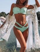 Bikini miętowe usztywniane falbanki piekne...