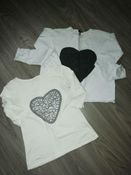 dwie bluzki białe z wielkim sercem