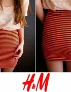 spódniczka h&M xs 34 S 36 szaro pomarańczowe paski...