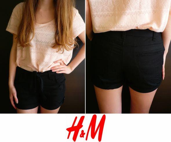 Czarne krótkie spodenki H&m xs 34 X 36...