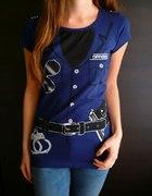 Granatowa koszulka z nadrukiem munduru 36 s...
