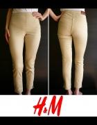 spodnie xs 34 rurki h&m beżowe zamek zip suwak...