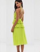 Asos Design przepiękna limonkowa zielona sukienka plisowana M...