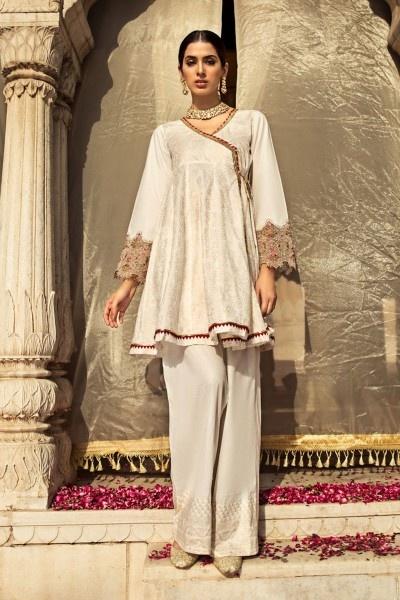 Nowa tunika indyjska angrakha XL 42 biała złota wzór haft chwosty kameez salwar sari saree