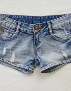 Haofeng jeansowe krótkie spodenki przetarcia dżety 34 XS...