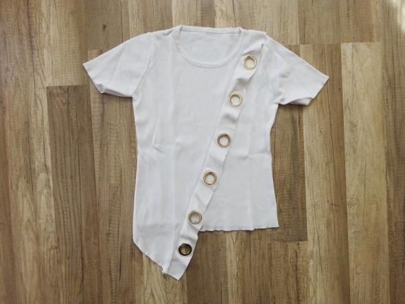 biała dopasowana asymetryczna bluzka kółka 34 XS