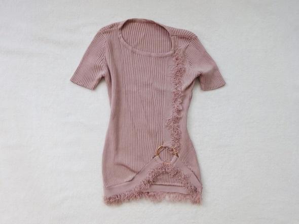 asymetryczna bluzka pudrowy róż 34 XS