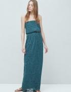 Granatowa koronkowa maxi sukienka Mango...
