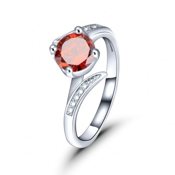 Nowy pierścionek srebrny kolor rodowany czerwona cyrkonia elegancki delikatny