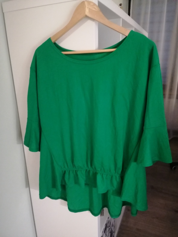 zielona bawełniana luźna bluzka oversize