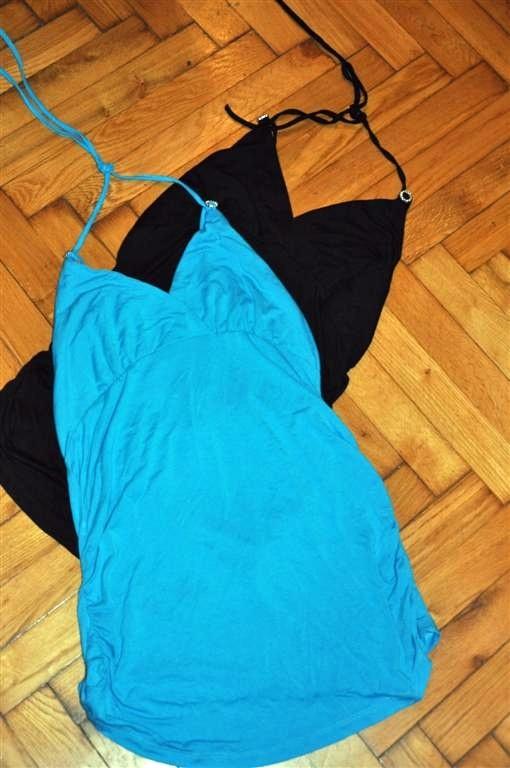 dwa topy XL czarny niebieski