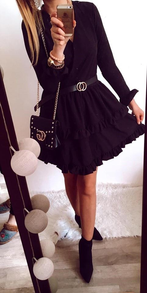 Sukienka Damska czarna elegancka rozkloszowana SM