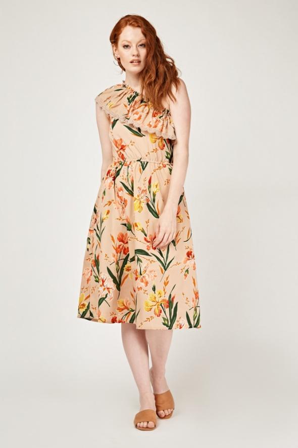 Nowa sukienka letnia M 38 jedno ramię dekolt kwiaty wzór hiszpanka falbana