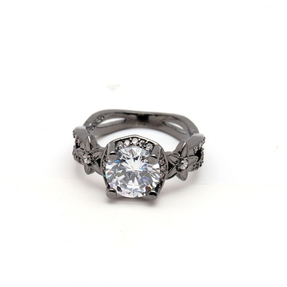 Nowy pierścionek czarny biała cyrkonia elegancki retro vintage