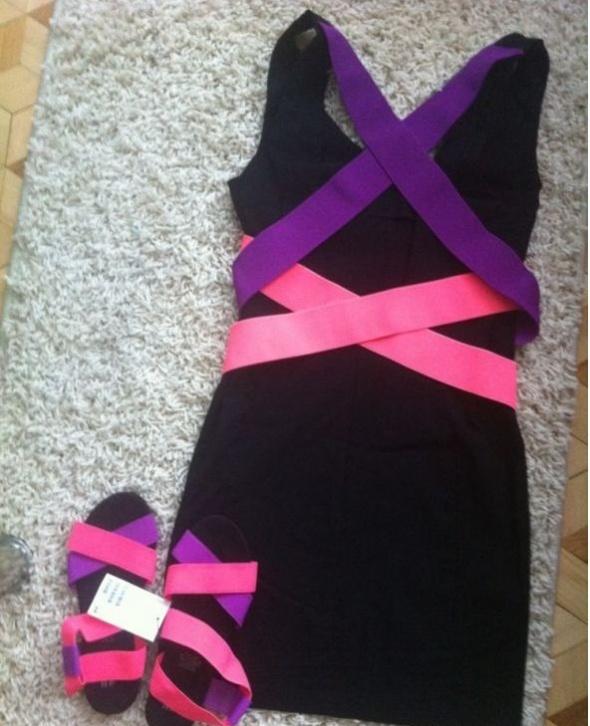 sukienka neonowe paski na plecach