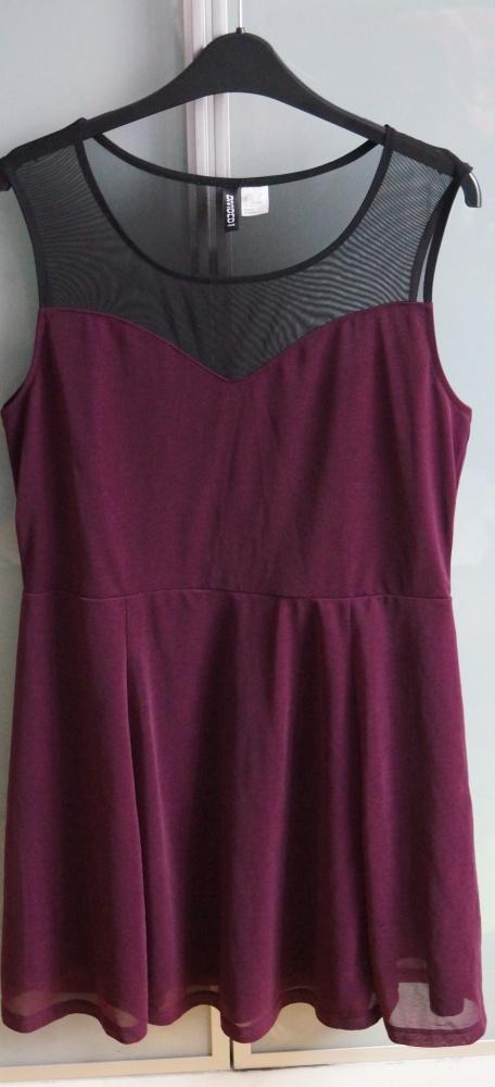 Elegancka fioletowa sukienka H&M rozmiar L...