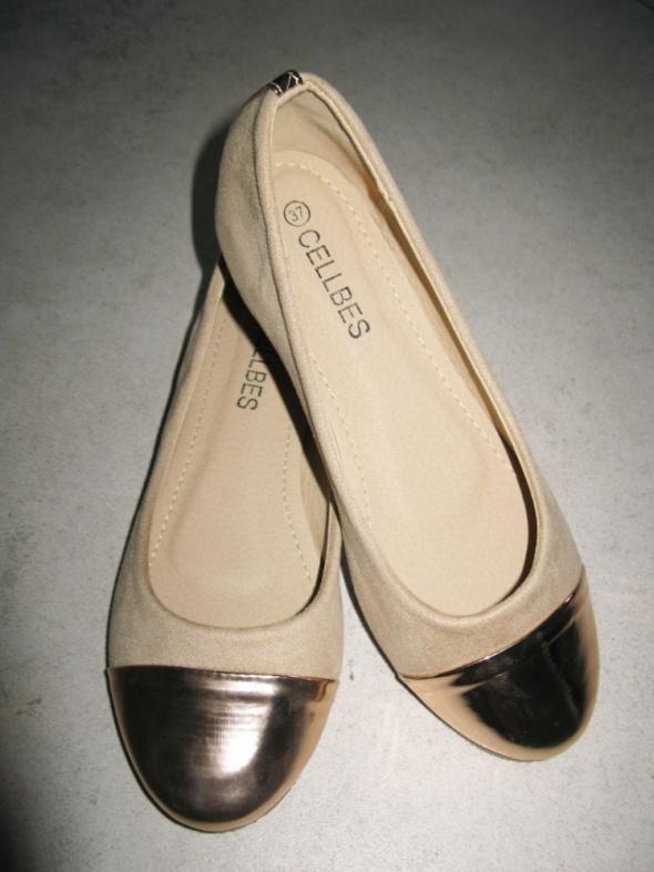 CELLBES beżowe baleriny damskie roz 37