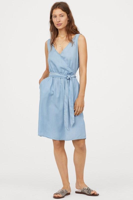 H&M Sukienka z lyocellu Jasnoniebieski denim...