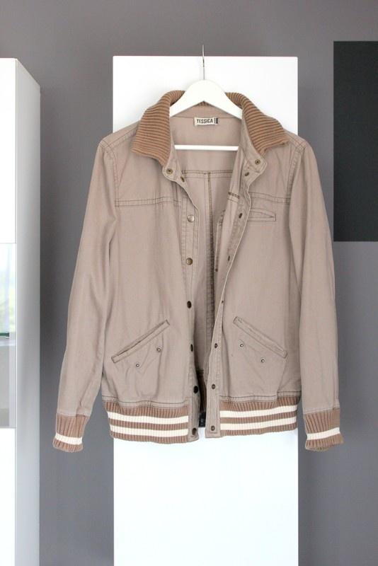 Kurtki i płaszcze brązowa kurtka bejsbolówka klasyczna brązowa jesień lekka cienka wiosna przejściówka ściągacze c&a