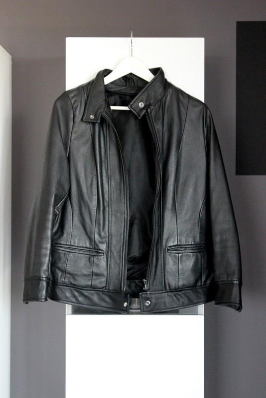czarna skórzana kurtka skóra naturalna ze skóry naturalnej ramoneska ze stójką klasyczna basic