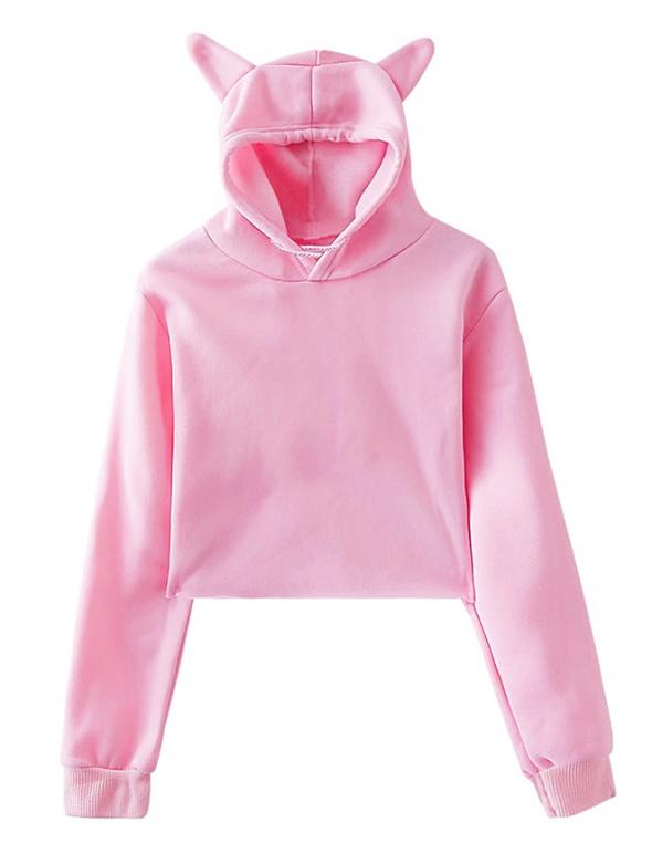 Krótka Różowa Bluza Pudełkowa Kaptur Uszy Uszka Sportowa Japan Lolita Barbie Emo Pastel Goth