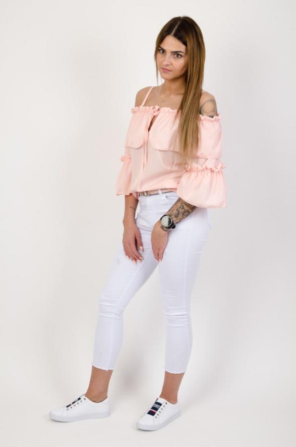 Bluzeczka hiszpanka sznurowana pudrowy róż mega