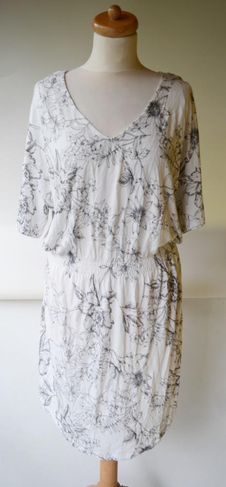 Sukienka H&M Basic L 40 Kwiaty Biała Kwiatki