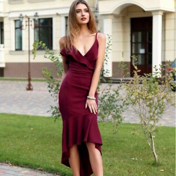 Sukienka Ax Paris Midi Alice Fishtail Plum rozmiar 42...