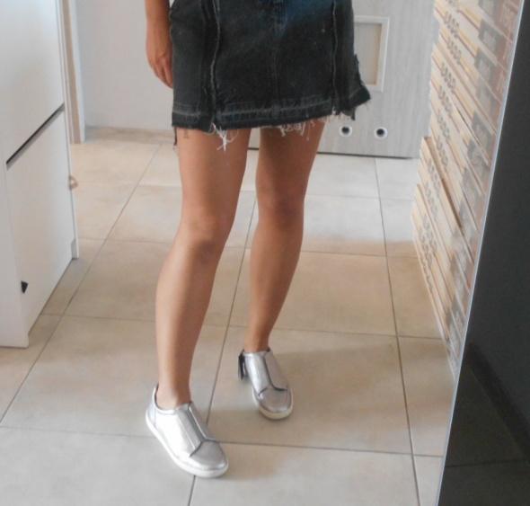 Trampki Zara nowe srebrne sneakersy slip on tenisówki 38
