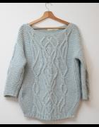 ZARA Knit piekny blekitny sweter luzny oversize S M...