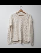 H&M LOGG sweter oversize jasny ecru kremowy...