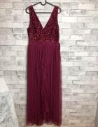 Sistaglam Tiulowa Sukienka Cekiny Maxi 42 XL...