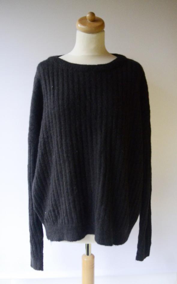 Sweter Czarny Cubus XL 42 Oversize Paski Ciepły Luzny