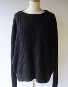 Sweter Czarny Cubus XL 42 Oversize Paski Ciepły Luzny...
