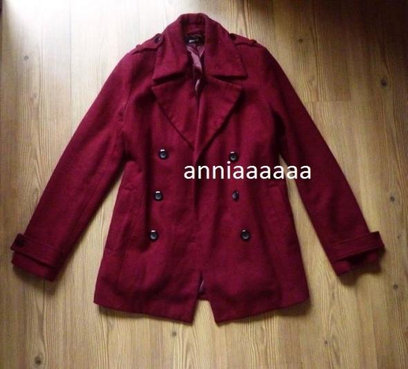 Gina tricot plaszcz kurtka wełna bordowa bordo burgund 38