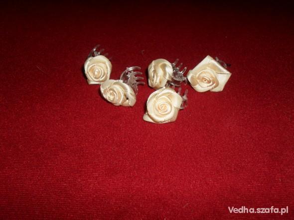 spinki kremowe RÓŻYCZKI ślub