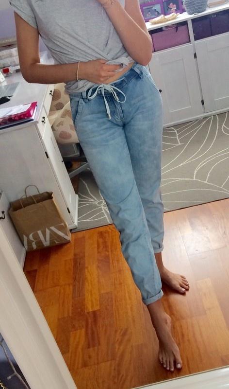 Spodnie jeansowe luźne ze ściągaczem joggers S