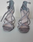 Szare zamszowe szpilki sandały roz 36...